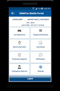 Gimatex Mobile Portal - náhled
