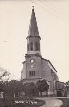 Photo: Orgueil (82) - L'église à la fin des années 40. Carte postée le 07 septembre 1952 à destination de la famille Squillario à Turin (Italie)