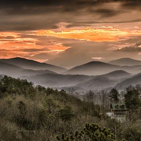 Smoky Mountain Sunrise by Jim Salvas - Landscapes Sunsets & Sunrises ( clouds, cabin, home, hills, mountains, smokys, sunrise, smoky mountains, mist )
