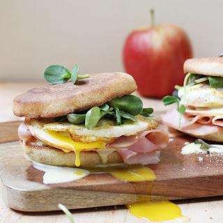 Runny Egg, Maple Ham, and Crispy Apple Breakfast Sandwich with Blender Hollandaise Sauce