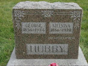 Photo: Grave of George and Melvina (MEYERS) HUBBY / Hull Cemetery, Luther, Boone Co., Iowa