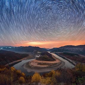 Meander trails by Ruslan Asanov - Landscapes Starscapes ( stars, night, meander, landscape, trails, river,  )