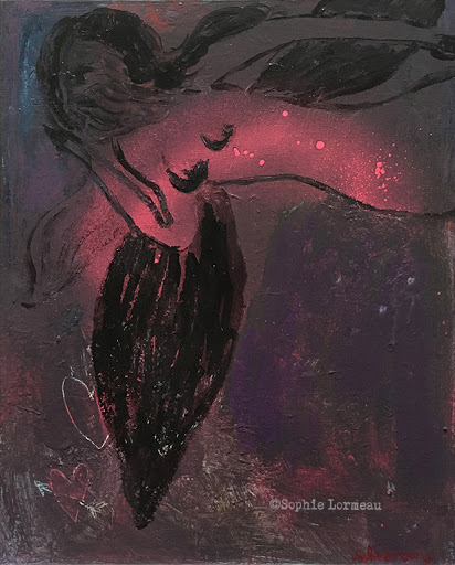 en_debut_d_après_minuit-peinture-sophie-lormeau-painting-woman-night-angel-black-ange-noir-sophielormeau-lover-amoureuse-in-lovecontemporary-art-artist-contemporain-tableau-peinture-acrylic-