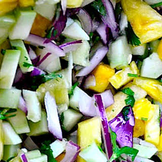 Cucumber Salad Recipe with Fresh Pineapple and Cilantro.