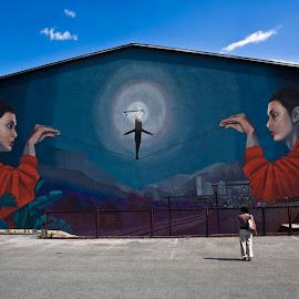 Graffiti by Bojan K - City,  Street & Park  Street Scenes ( graffiti jesenice slovenija blue street,  )