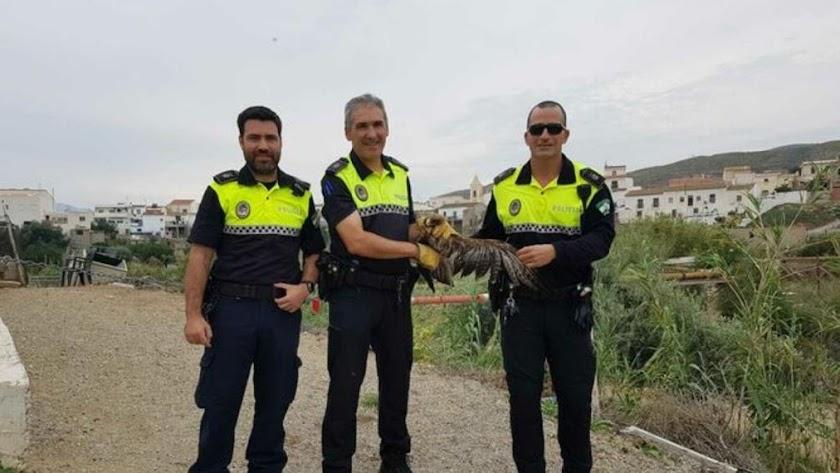 Agentes de la Policía Local de Los Gallardos con el ejemplar.