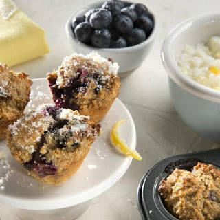Mini Lemon Glazed Blueberry Muffins