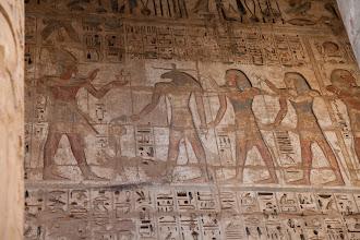 Photo: Medinat Habu, second court - Ramses III offering tp Amun Ra