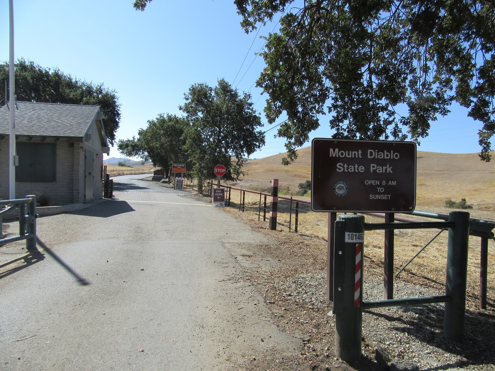 Cycling Mt. Diablo - North Gate - ranger station and park gate