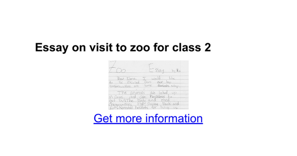 Essay writing - trip to zoo