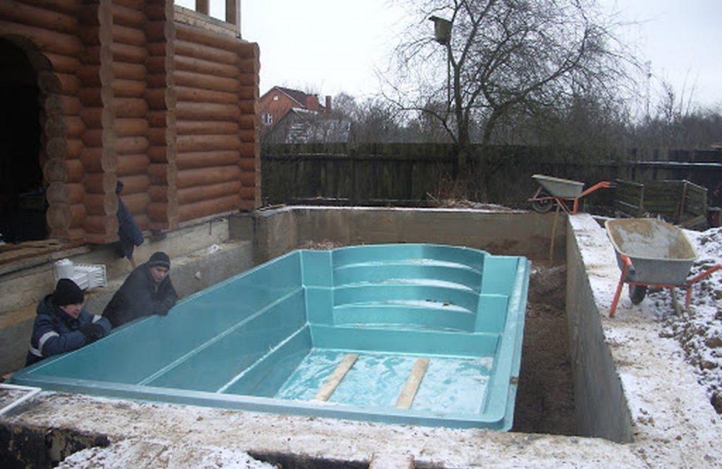 Установка акрилового бассейна