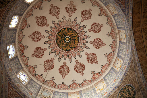 Inside-rear-entrance-of-the-Blue-Mosque.jpg - The cupola inside the rear entrance of the Blue Mosque in Istanbul.