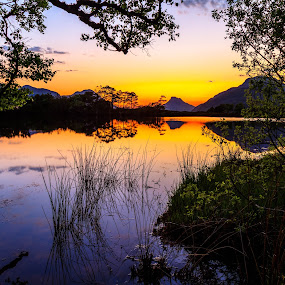 Sunset over Stack Pollaidh by Iain Cathro - Landscapes Mountains & Hills ( water, susnet, scotland, mountains, landscape )