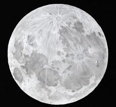 Photo: Pleine Lune du 19 févier 2019. Dessin au graphite sur papier blanc, avec la Taka FS78 à 52X de grossissement.