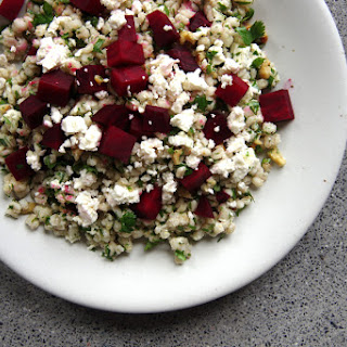 Warm Roasted Beet And Barley Salad In A Maple Mustard Dressing