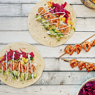 Grilled Shrimp Burritos with Spicy Jalapeño Mango Salsa