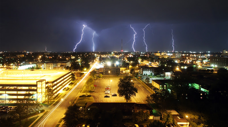 Photo: Lightning lights up the sky over the Missouri State campus and downtown Springfield during storms on Friday, April 13.