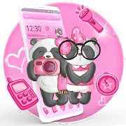 Pink Twin Bow Panda Theme