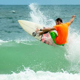 Orange Beach Surfer by Wilson Silverthorne - Sports & Fitness Surfing ( surfing, orange beach, gulf of mexico )
