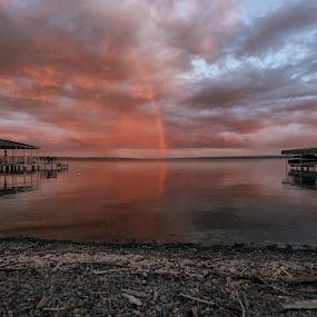 Finger Lakes Rainbow by Thomas Nicola - Buildings & Architecture Other Exteriors ( rainbow, lake cayuga, finger lakes,  )