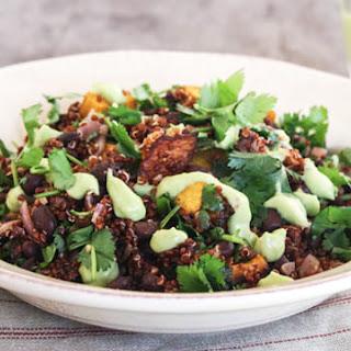 Squash + Black Bean Quinoa Bowls with Avocado Dressing Recipe