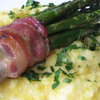 Cheddar Polenta With Bacon Wrapped Asparagus