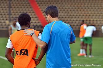 Photo: Coach McKinstry and George Davies   [Training camp ahead of Leone Stars v DR Congo on 10 September 2014 (Pic © Darren McKinstry / www.johnnymckinstry.com)]