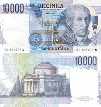 Photo: Alessandro Volta, 10000 Italian Lire (1984). This note is now obsolete.