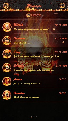 android GO SMS THE FLAME SKULL THEME Screenshot 1