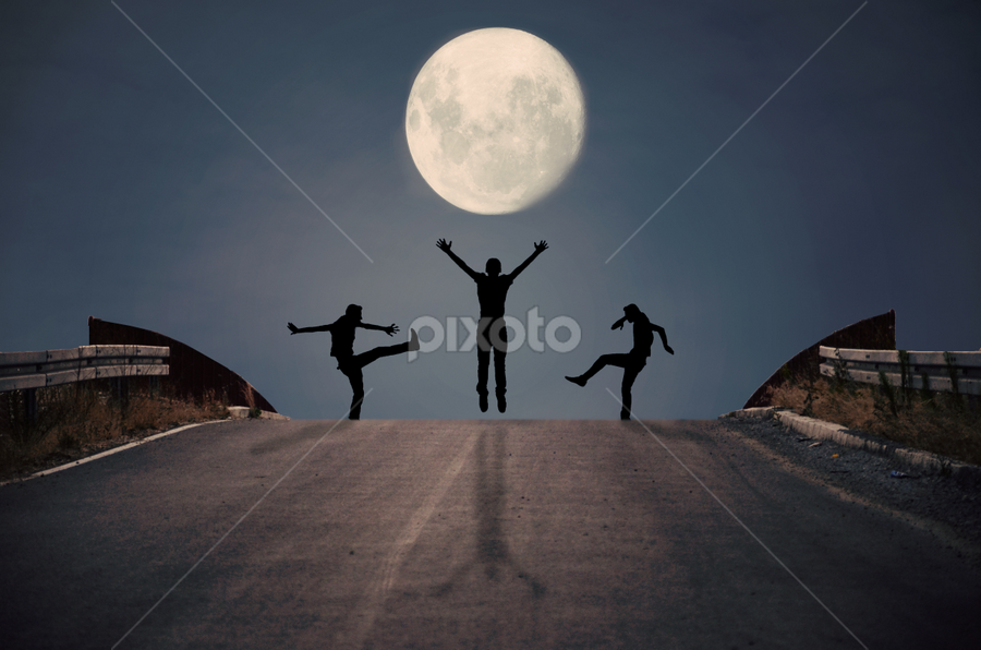 3 players by Adrian  Limani - Digital Art Things ( moon, silhouette, players, fine art, night )