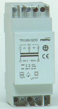 Ringledningstrafo DIN-montage, 15VA, 230/4-8-12VAC, 2 moduler