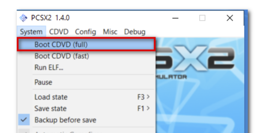 Choose Boot CDVD (full) from the System menu