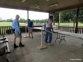 Photo: Dennis Profota, Case Alexander, and Mike Alexander setting up the concessions area.   HALS Public Run Day  2016-0716  RPWhite