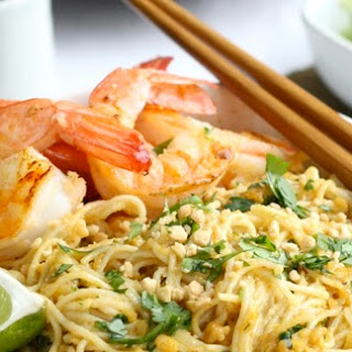 Spicy Peanut Noodles with Garlicky Shrimp.