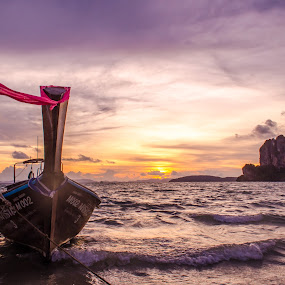 Beautiful Sunset at Railay Beach - HDR !! by Prathap Gangireddy - Transportation Boats ( clouds, waterscape, beautiful, thailand, beauty in nature, beach, travel, boat, krabi, landscape, sun, photography, sky, nature, travelling, color, sunset, sunsets, travel photography, travel locations )