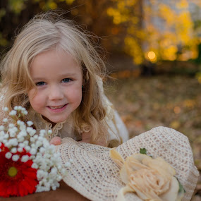 :) by Laura Gardner - Novices Only Portraits & People ( grandmas' wedding dress, baby of the family, fall, daughter, wedding dress, flowers )
