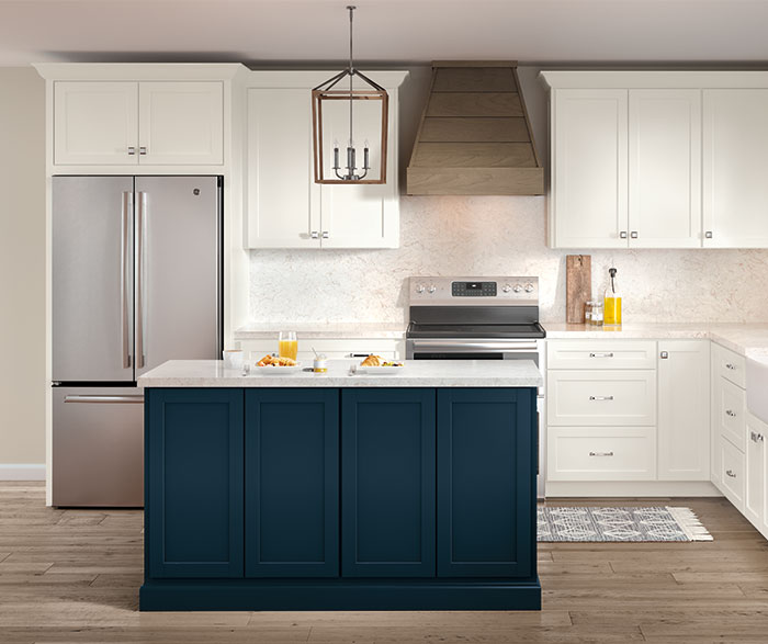 pop of color blue kitchen cabinets trend