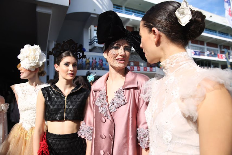 Amber-Lee More, Alexis Favelin, Gill Gregory and Rheid Campbell at the Vodacom Durban July.