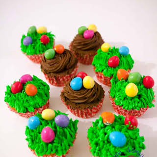 Festive Carrot Cupcakes with Easter Eggs.