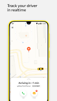 screenshot of Yandex.Taxi Ride-Hailing Service. Book a car.