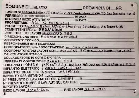 Cartello lavori Ospedale Alatri