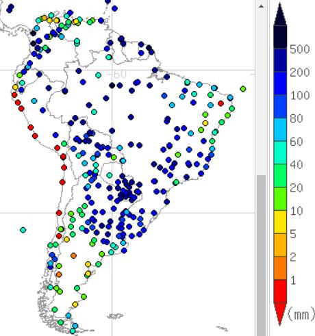 2016年12月南米の降水量マップ
