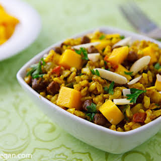 Curried Rice Salad with Black Chickpeas and Mango.