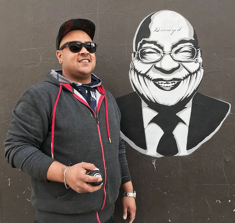 Nishil Vaghmaria and his Joker Zuma illustration in Central