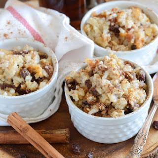 Rum Raisin Baked Rice Pudding.
