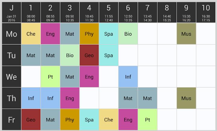 Quick Schedule Android App Screenshot