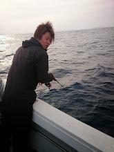 "Photo: 初乗船の""しみずさん""!"