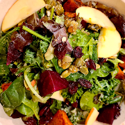 Winter Salad with Tahini Maple Dressing