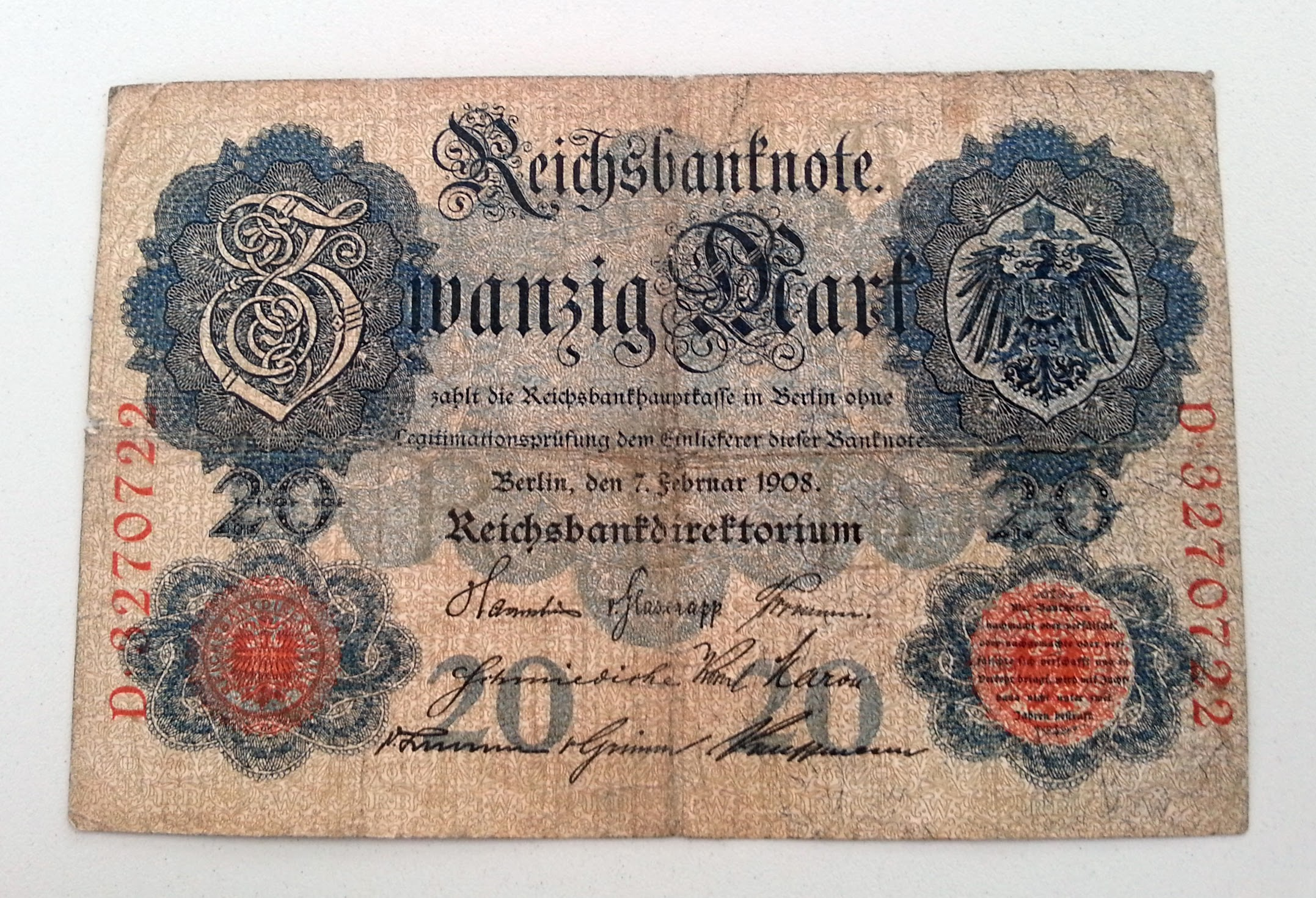 Reichsbank 20 Mark 1908