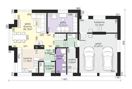 Dom przy Cyprysowej 15 K6 - Rzut parteru